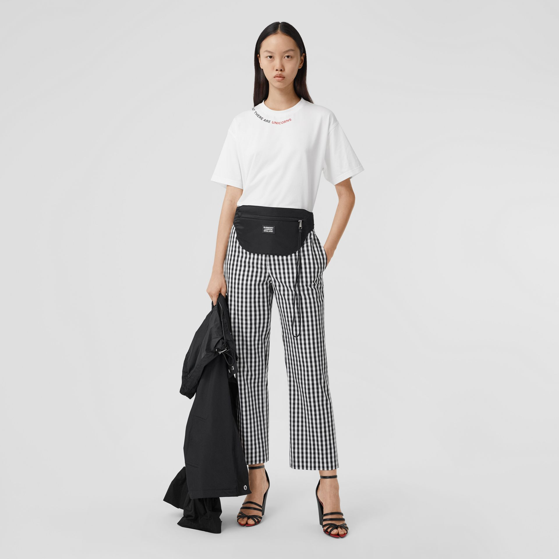 Gingham Technical Wool Cropped Trousers in Black - Women | Burberry - gallery image 0