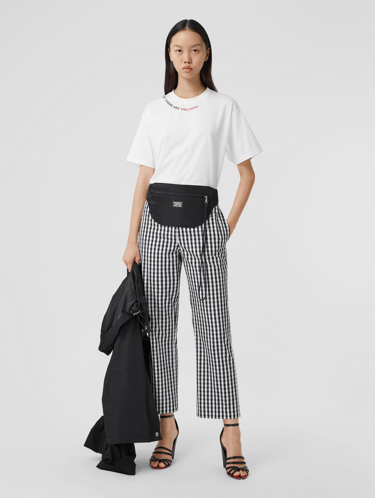 Gingham Technical Wool Cropped Trousers in Black