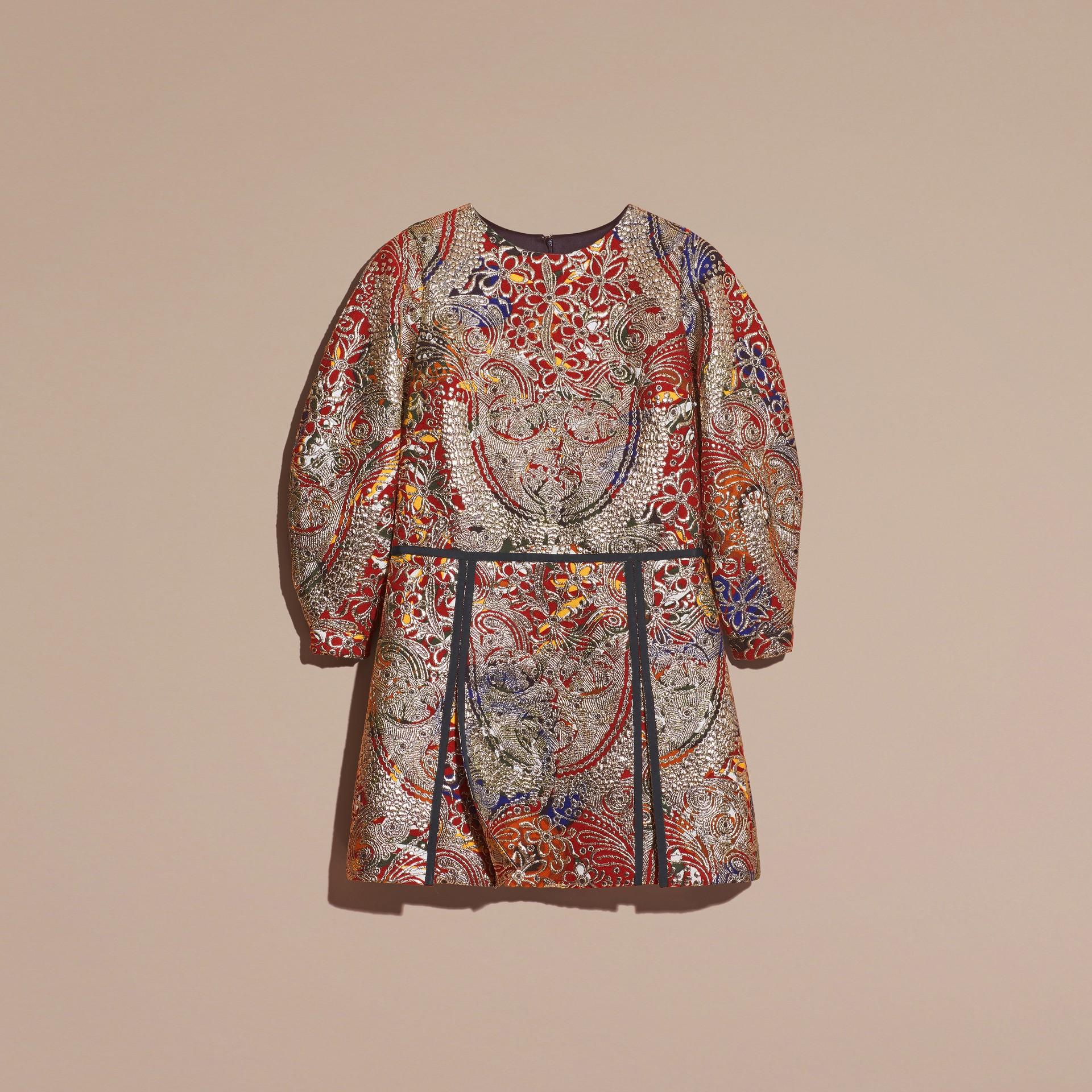 Brun roux Robe à manches sculpturales avec motif floral métallisé en jacquard - photo de la galerie 4
