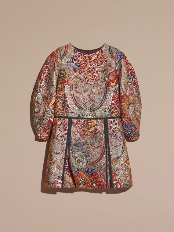 Russet brown Metallic Floral Jacquard Sculptured Sleeve Dress - cell image 3