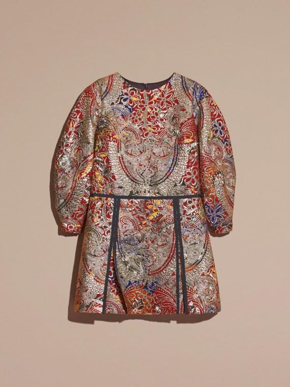 Brun roux Robe à manches sculpturales avec motif floral métallisé en jacquard - cell image 3