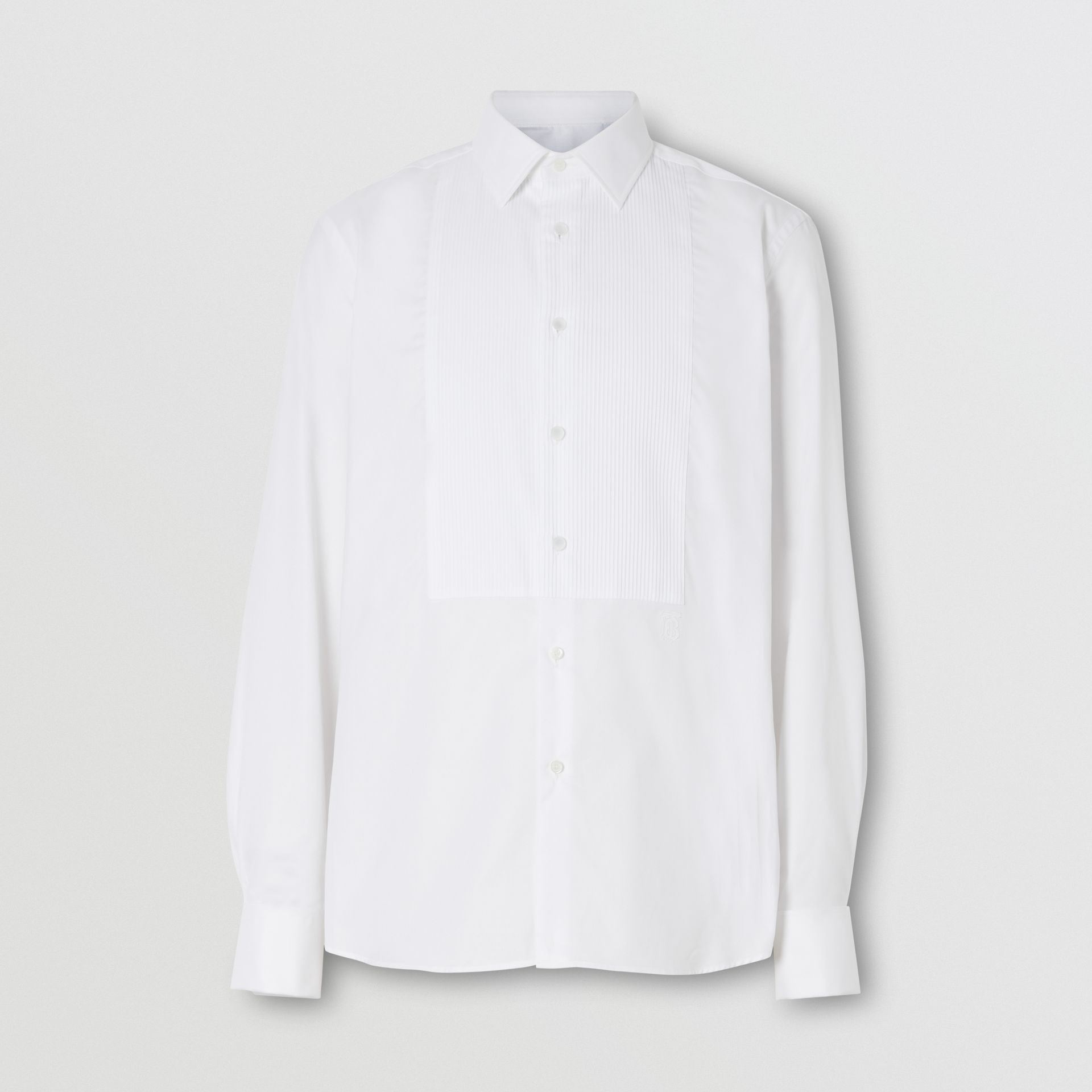 Ribbed Bib Cotton Oxford Dress Shirt in White - Men | Burberry - gallery image 3