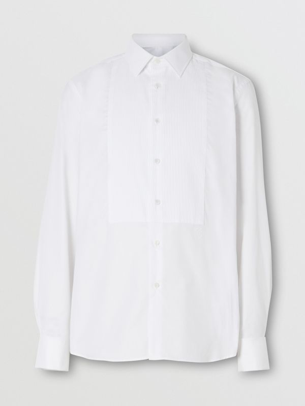 Ribbed Bib Cotton Oxford Dress Shirt in White - Men | Burberry - cell image 3