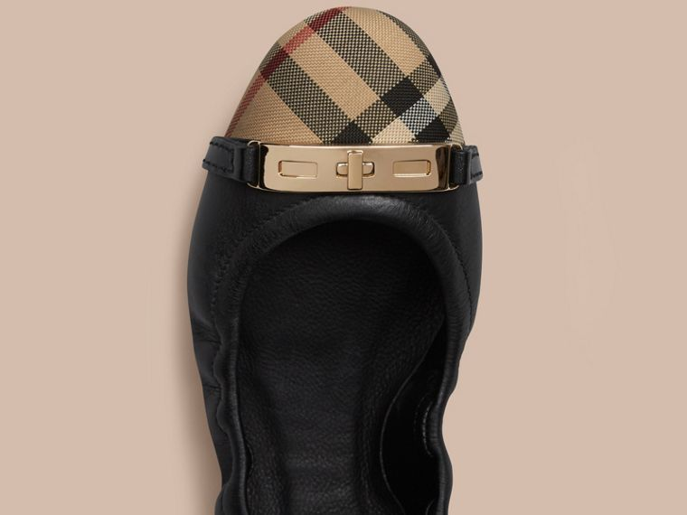 Horseferry Check Leather Ballerinas in Black - Women | Burberry - cell image 1