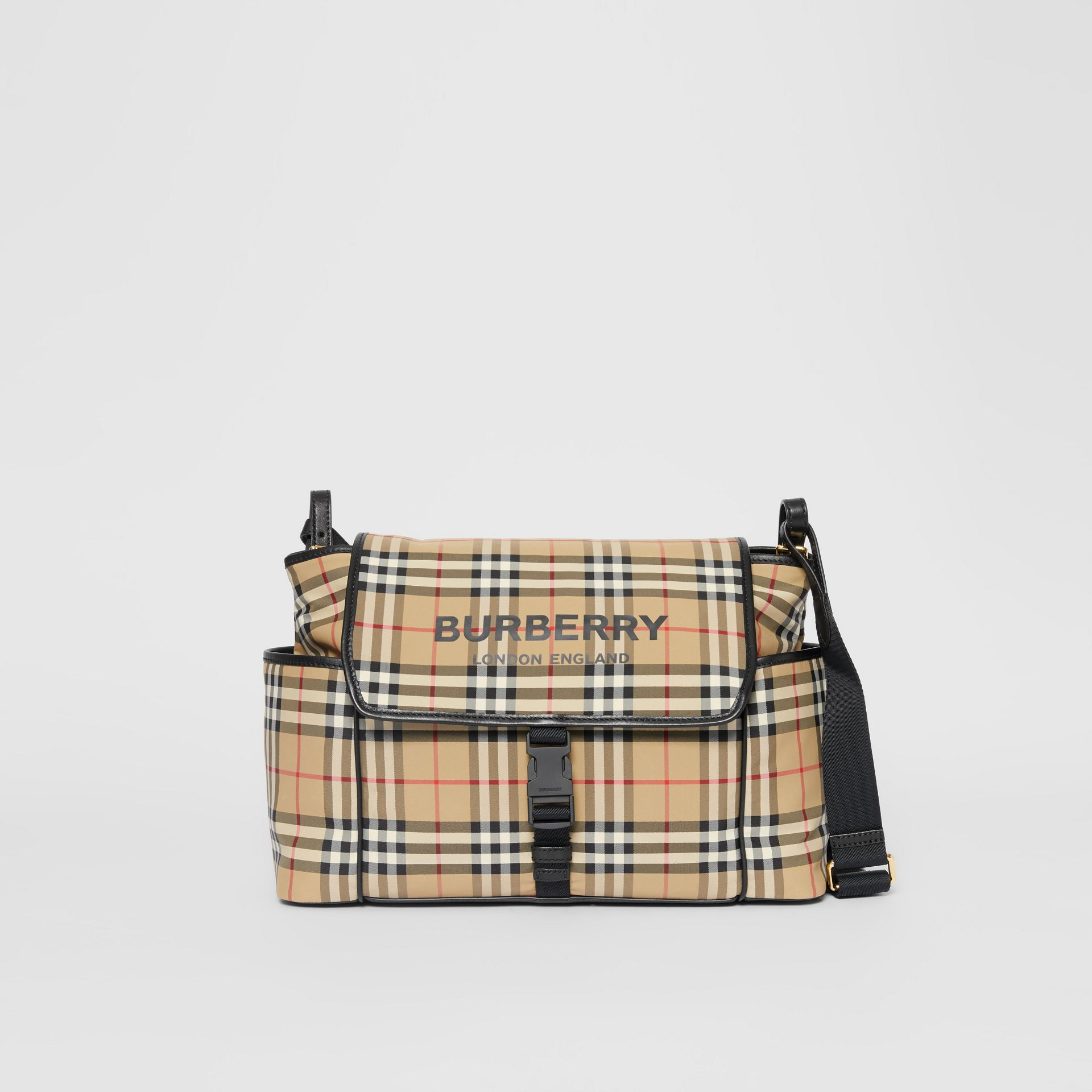 Logo Print Vintage Check Baby Changing Bag in Archive Beige - Children | Burberry - gallery image 0