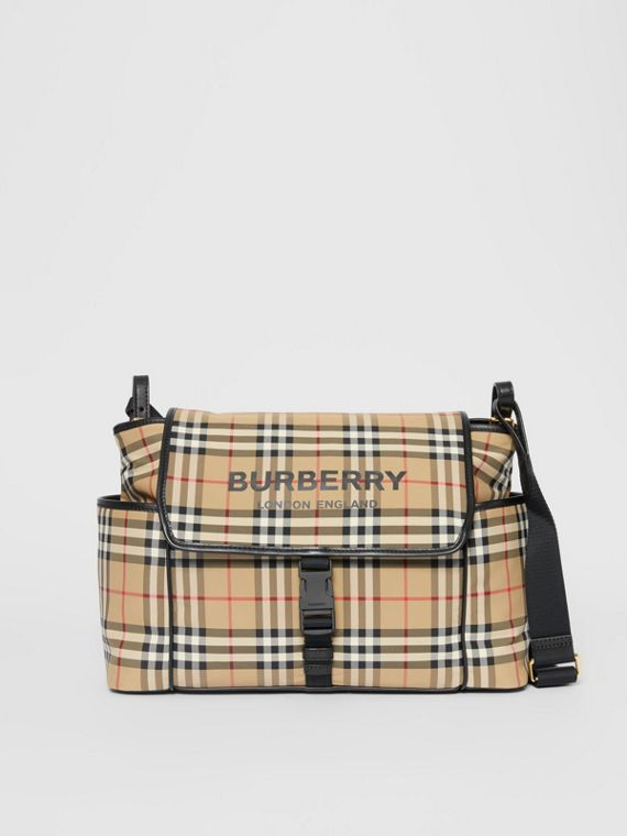 Logo Print Vintage Check Baby Changing Bag in Archive Beige