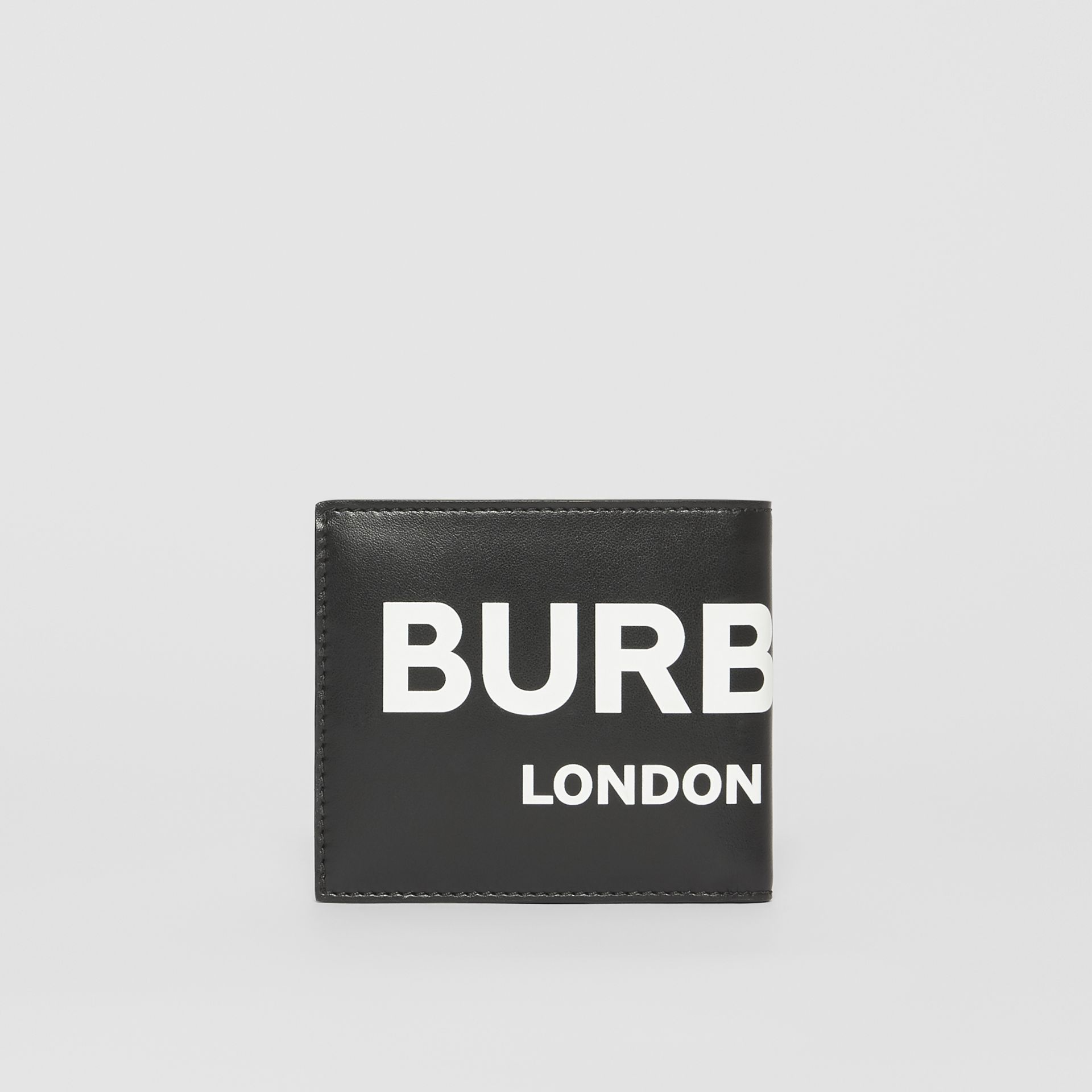 Logo Print Leather International Bifold Wallet in Black | Burberry Hong Kong S.A.R - gallery image 4