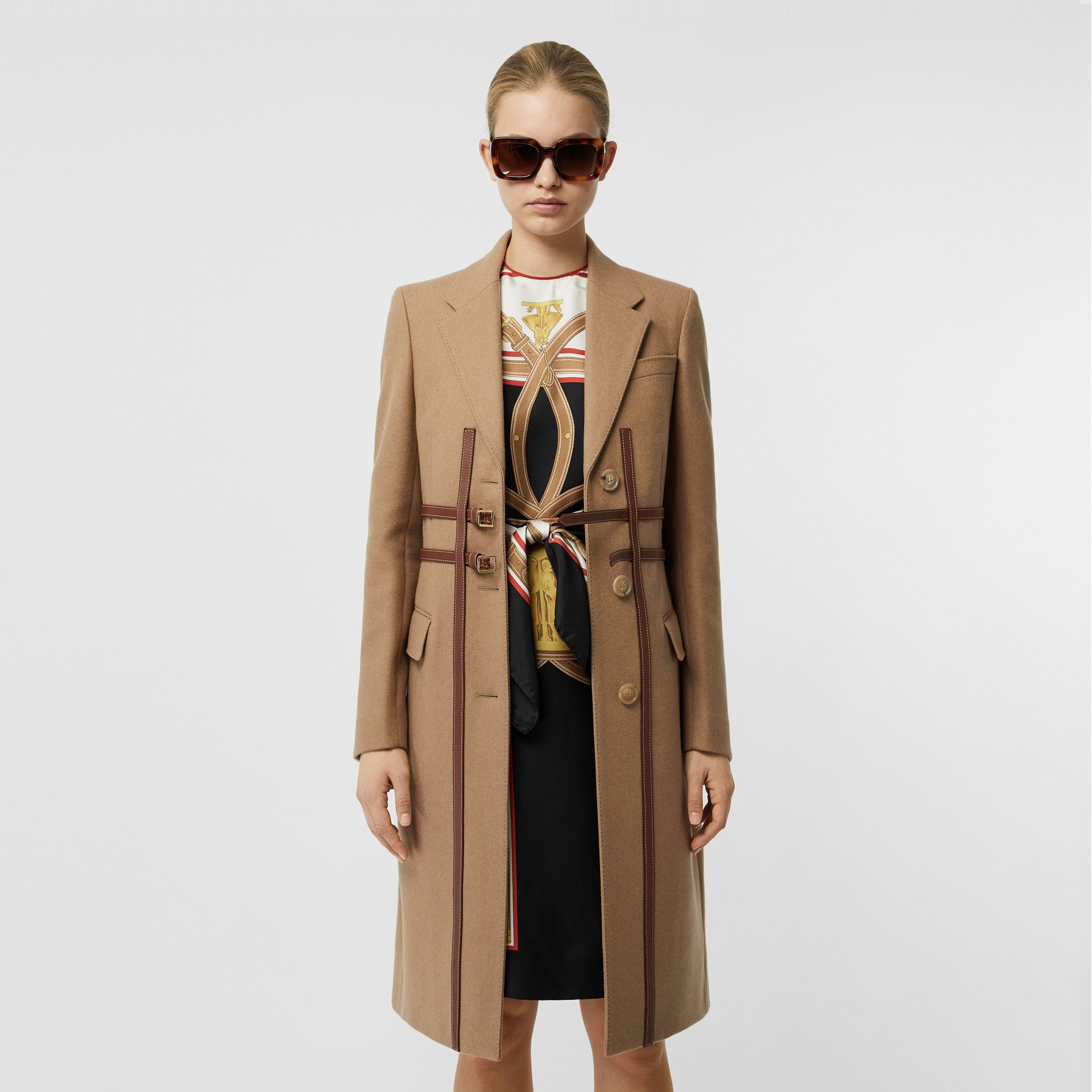 Leather Harness Detail Wool Tailored Coat in Camel - Women | Burberry - gallery image 3