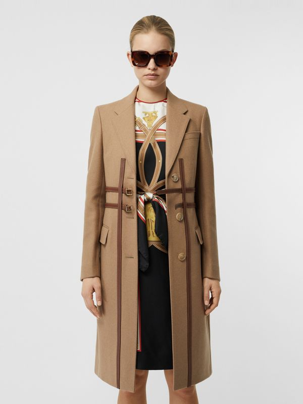 Leather Harness Detail Wool Tailored Coat in Camel - Women | Burberry - cell image 3