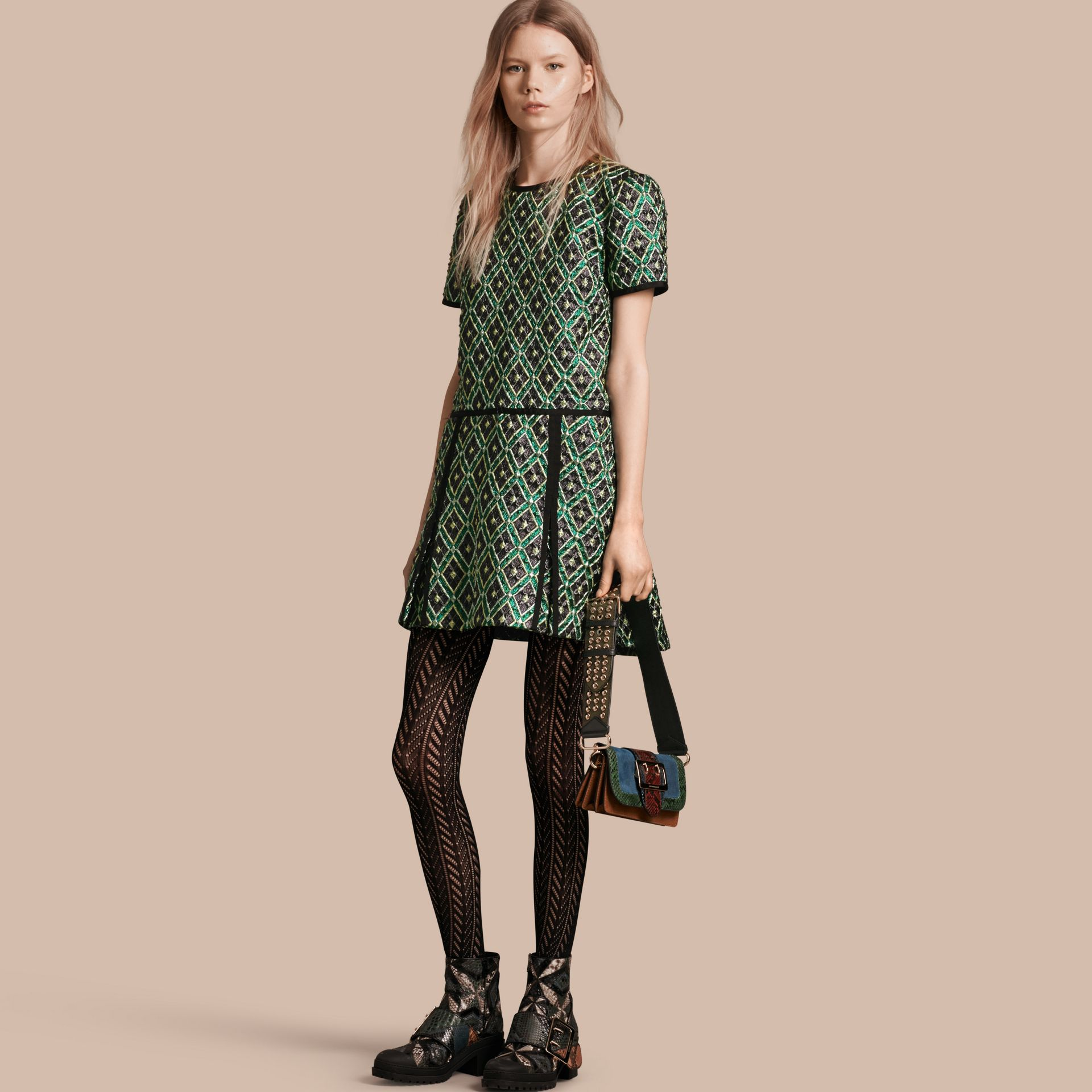 Deep green Patchwork Check Jacquard Dress - gallery image 1