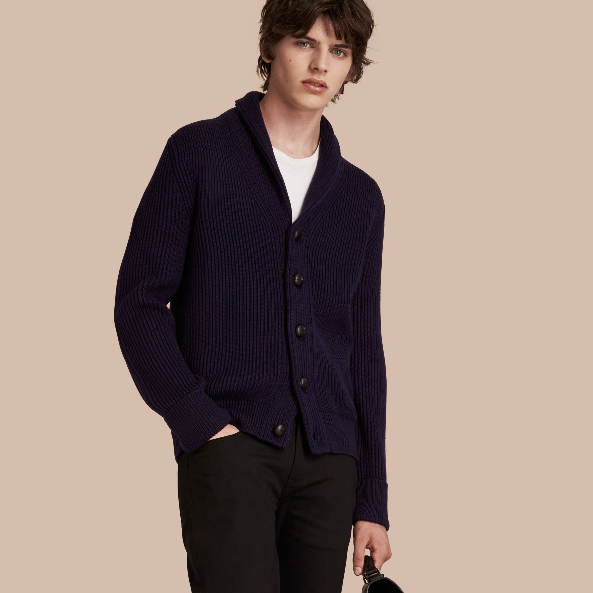 Navy Shawl Collar Ribbed Wool Silk Cardigan - gallery image 1