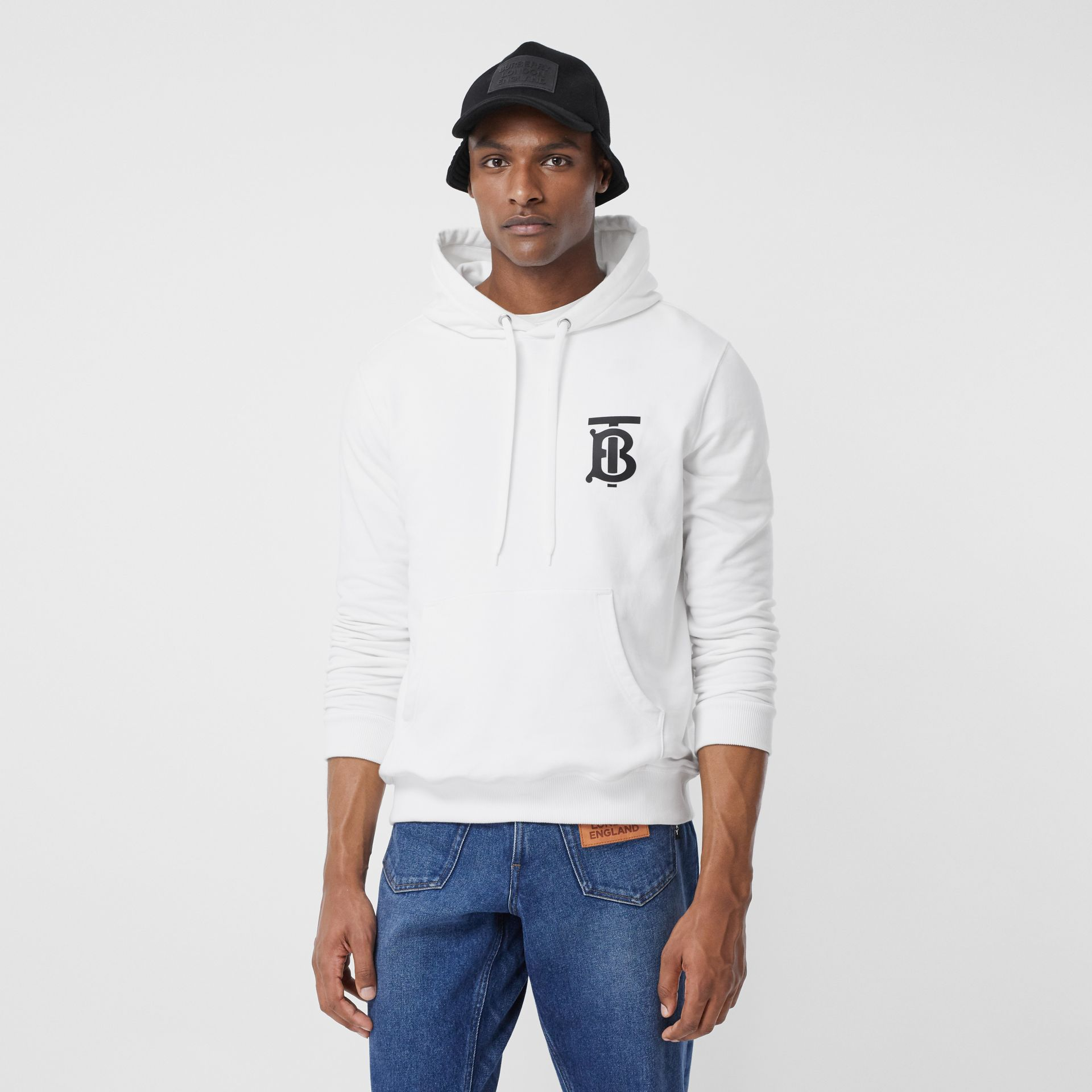 Monogram Motif Cotton Hoodie in White - Men | Burberry - gallery image 4