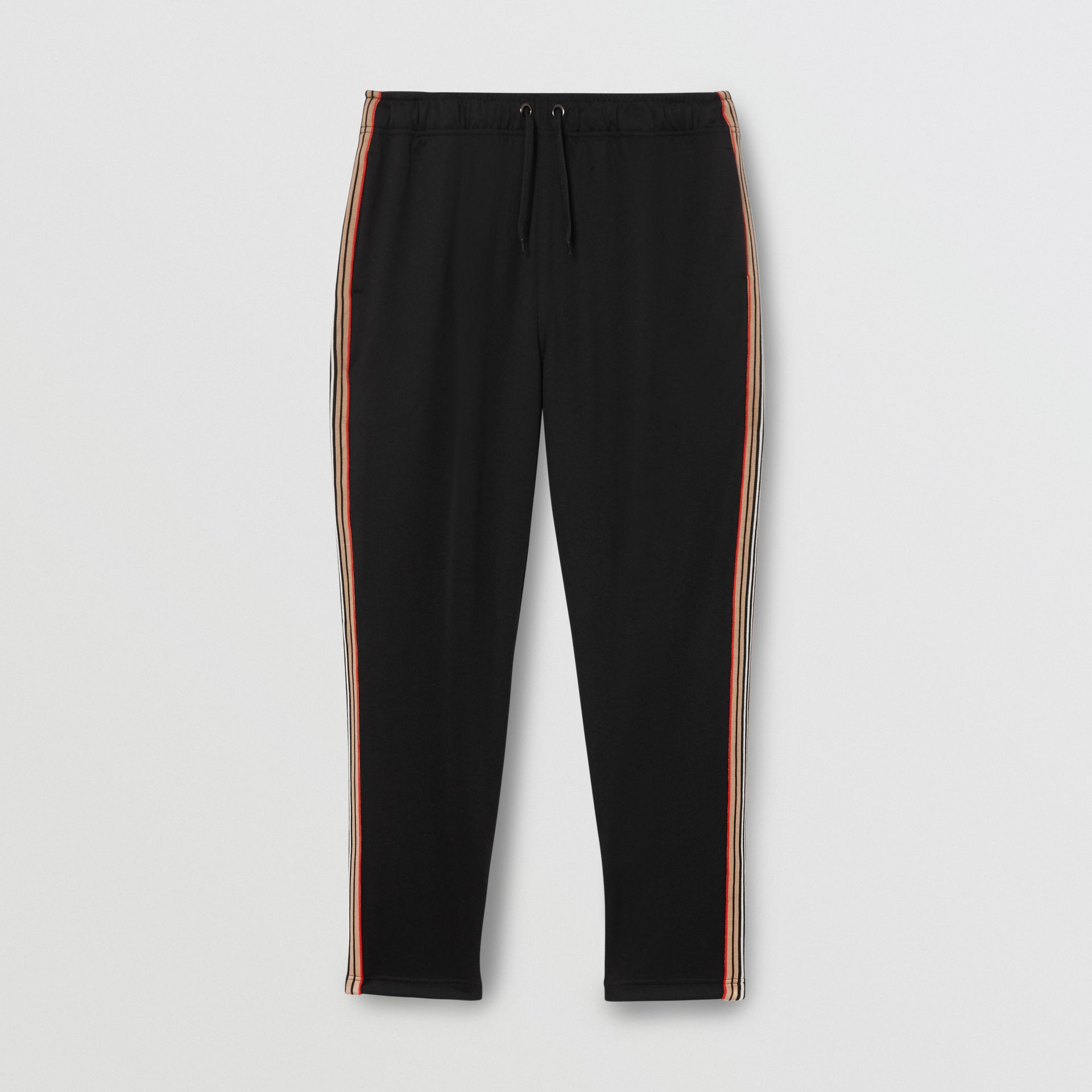 Icon Stripe Detail Jersey Trackpants in Black - Men | Burberry Singapore - gallery image 3