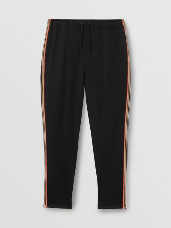 Icon Stripe Detail Jersey Trackpants in Black