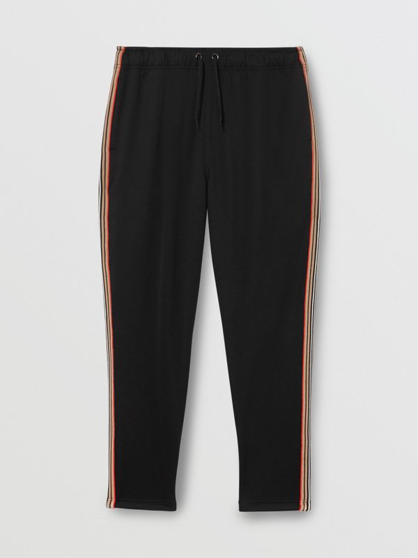 Icon Stripe Detail Jersey Trackpants in Black - Men | Burberry Singapore - cell image 3