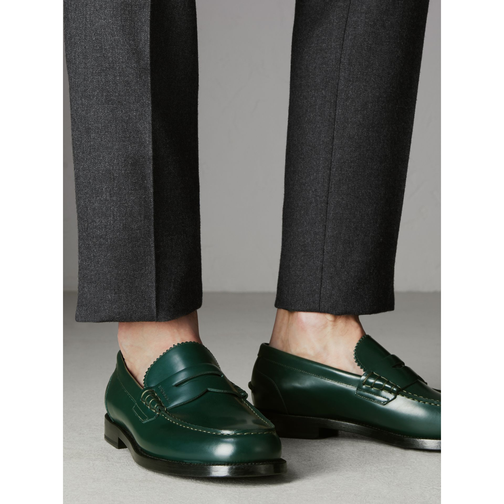 Leather Penny Loafers in Bottle Green - Men | Burberry - gallery image 2