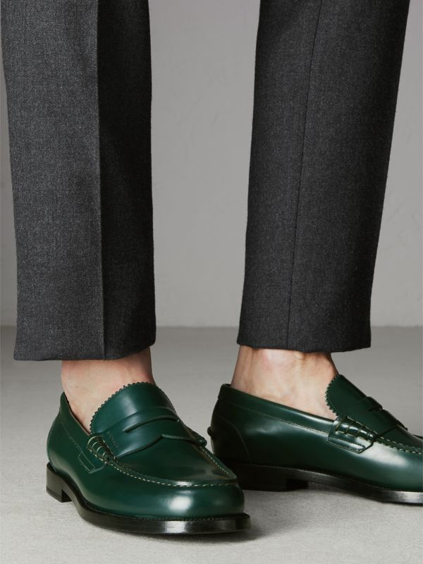 Leather Penny Loafers in Bottle Green - Men | Burberry United Kingdom - cell image 2