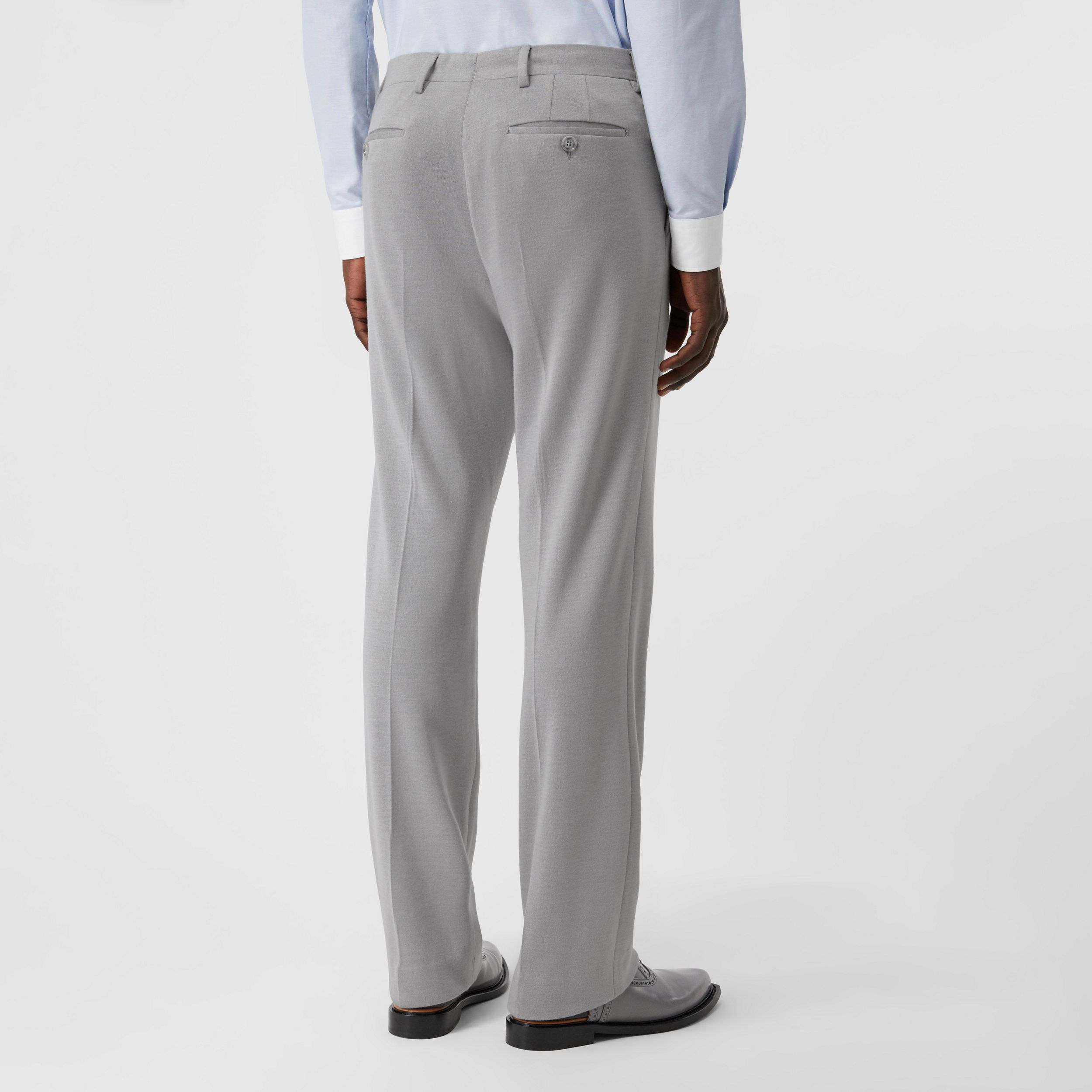 English Fit Cashmere Silk Jersey Tailored Trousers in Light Pebble Grey - Men | Burberry - 3
