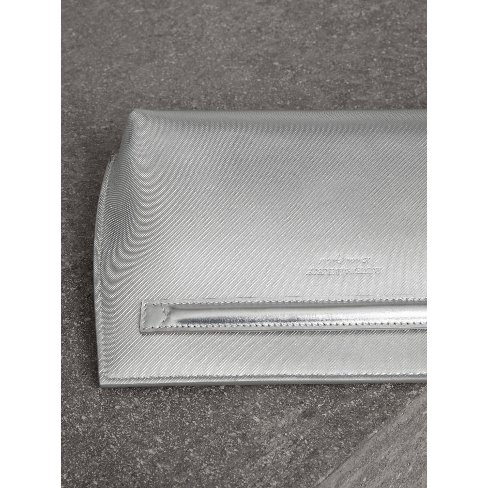 Metallic Trench Leather Pouch in Silver - Women | Burberry - gallery image 3