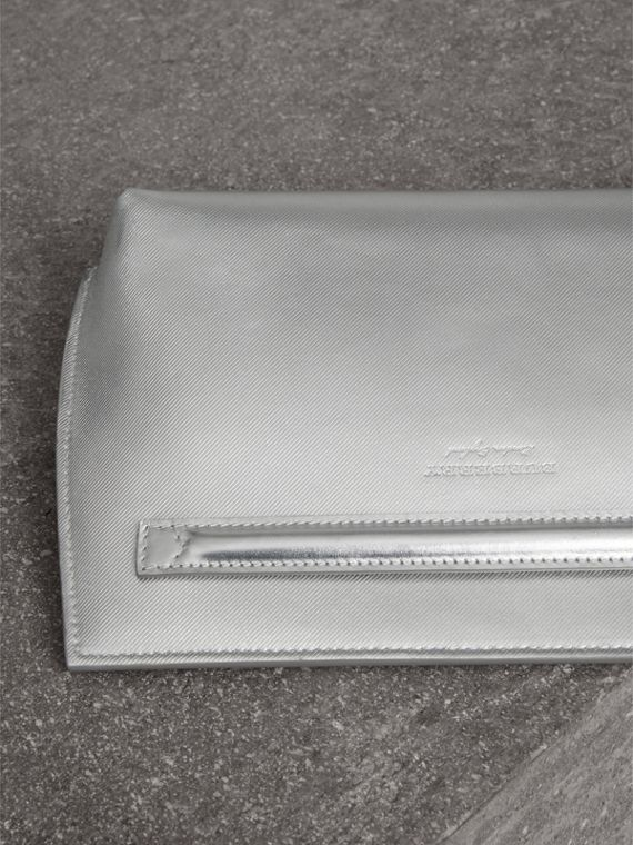 Metallic Trench Leather Pouch in Silver - Women | Burberry United States - cell image 3
