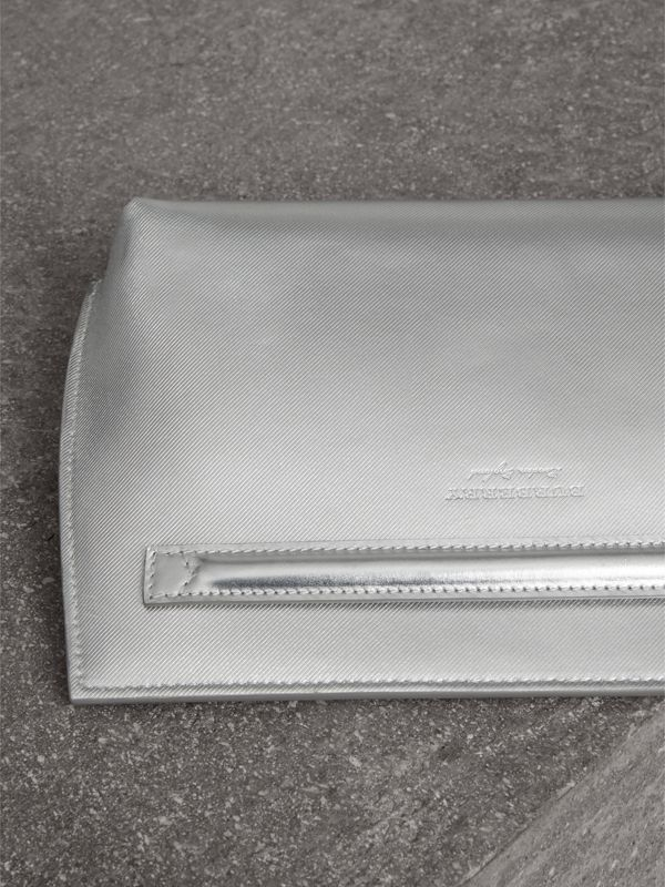 Metallic Trench Leather Pouch in Silver - Women | Burberry - cell image 3