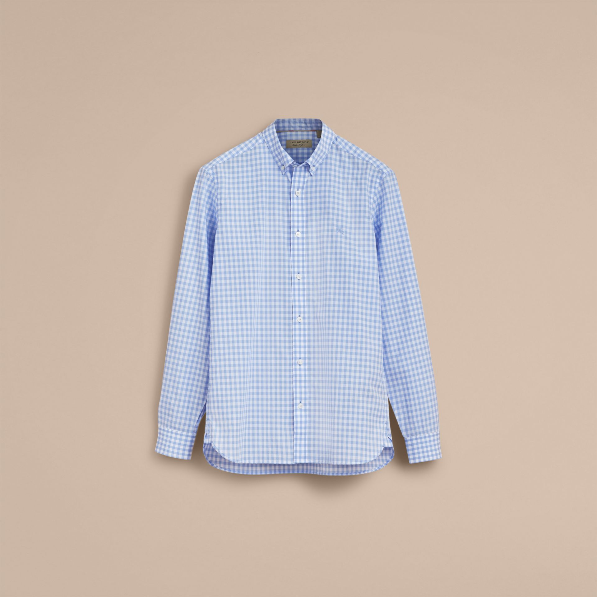 Button-down Collar Gingham Cotton Shirt Pale Blue - gallery image 4