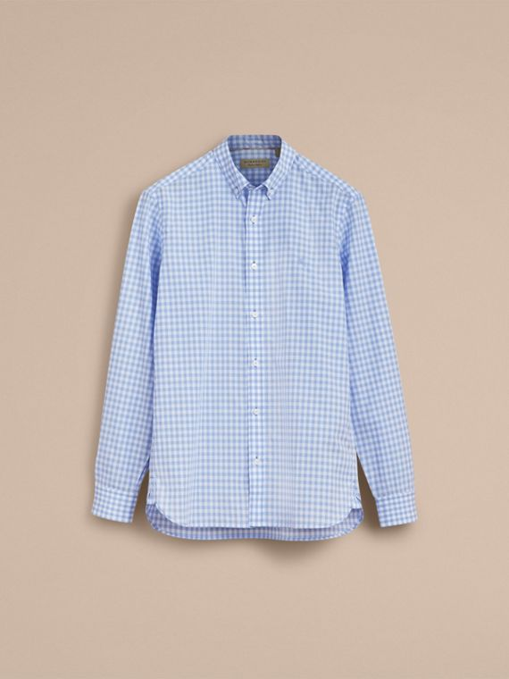 Button-down Collar Gingham Cotton Shirt Pale Blue - cell image 3