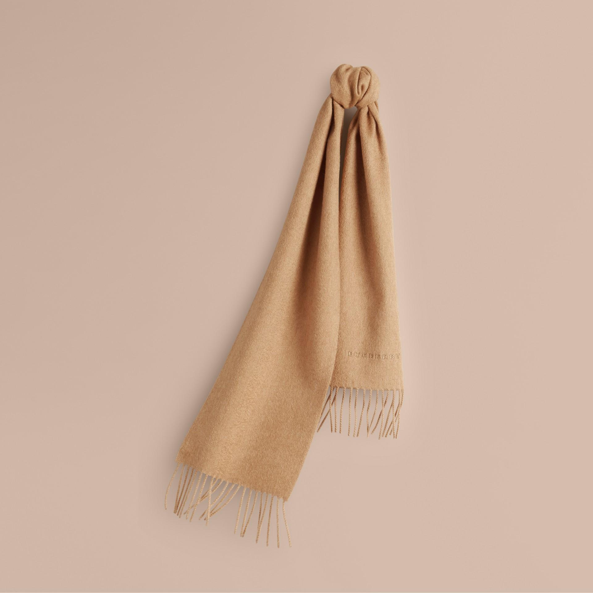 Cammello Sciarpa classica mini in cashmere Cammello - immagine della galleria 5