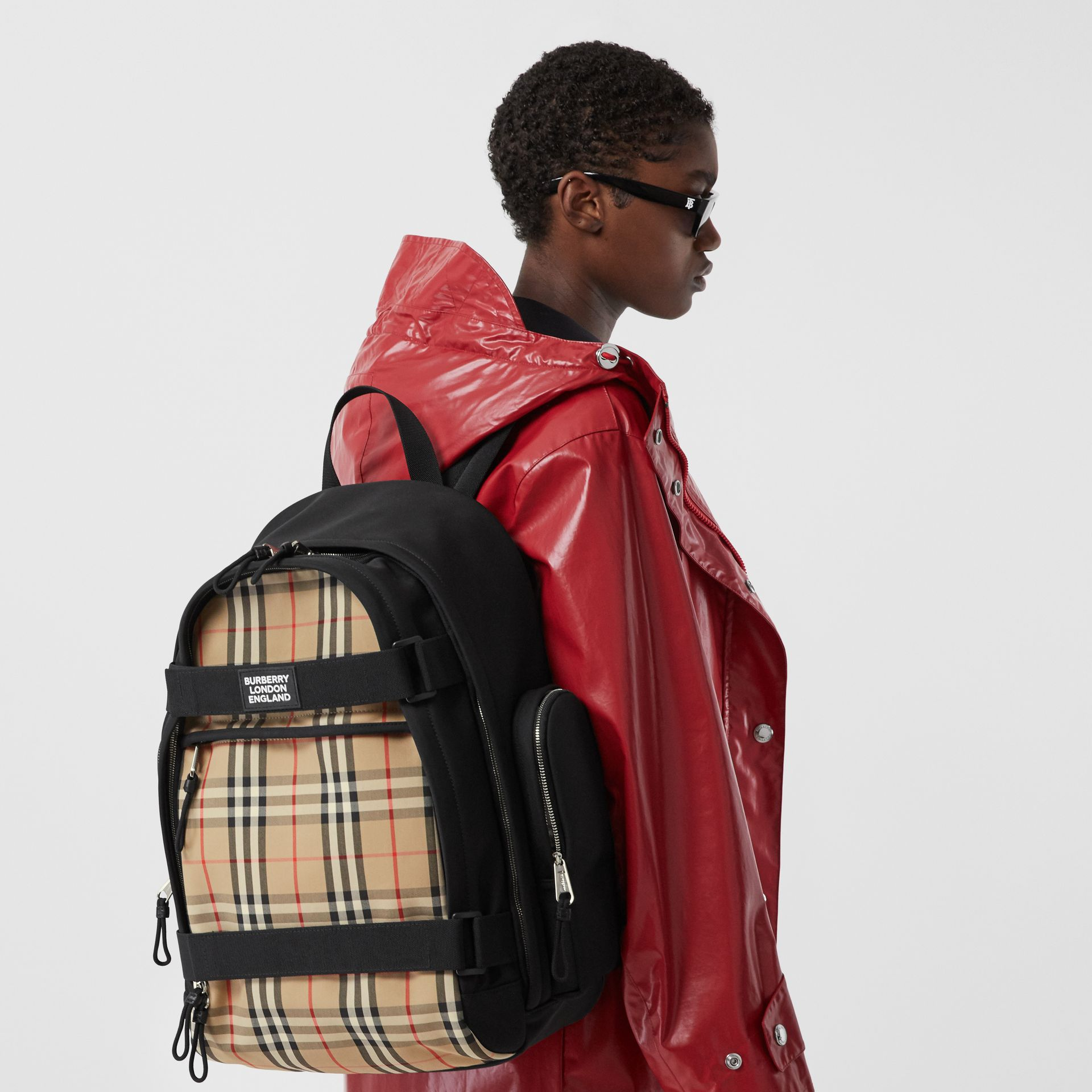 Large Vintage Check Panel Nevis Backpack in Archive Beige | Burberry Canada - gallery image 2