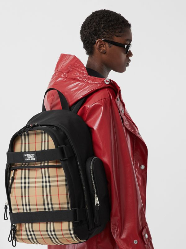 Large Vintage Check Panel Nevis Backpack in Archive Beige | Burberry Canada - cell image 2