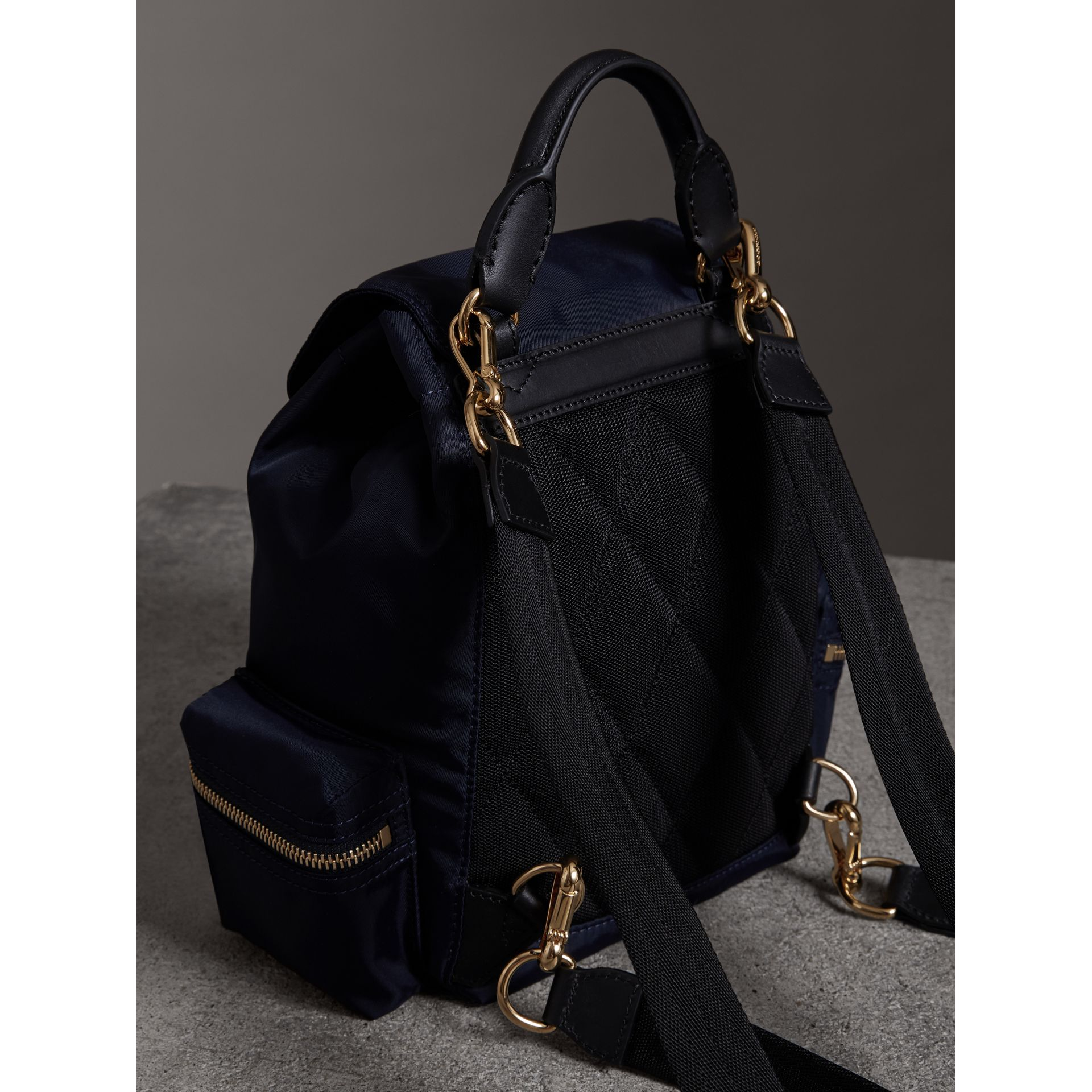 The Crossbody Rucksack in Nylon and Leather in Ink Blue - Women | Burberry - gallery image 4
