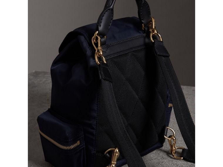 The Crossbody Rucksack in Nylon and Leather in Ink Blue - Women | Burberry - cell image 4