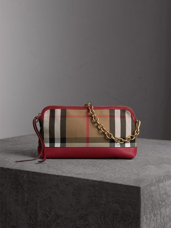 House Check and Leather Clutch Bag in Russet Red - Women | Burberry