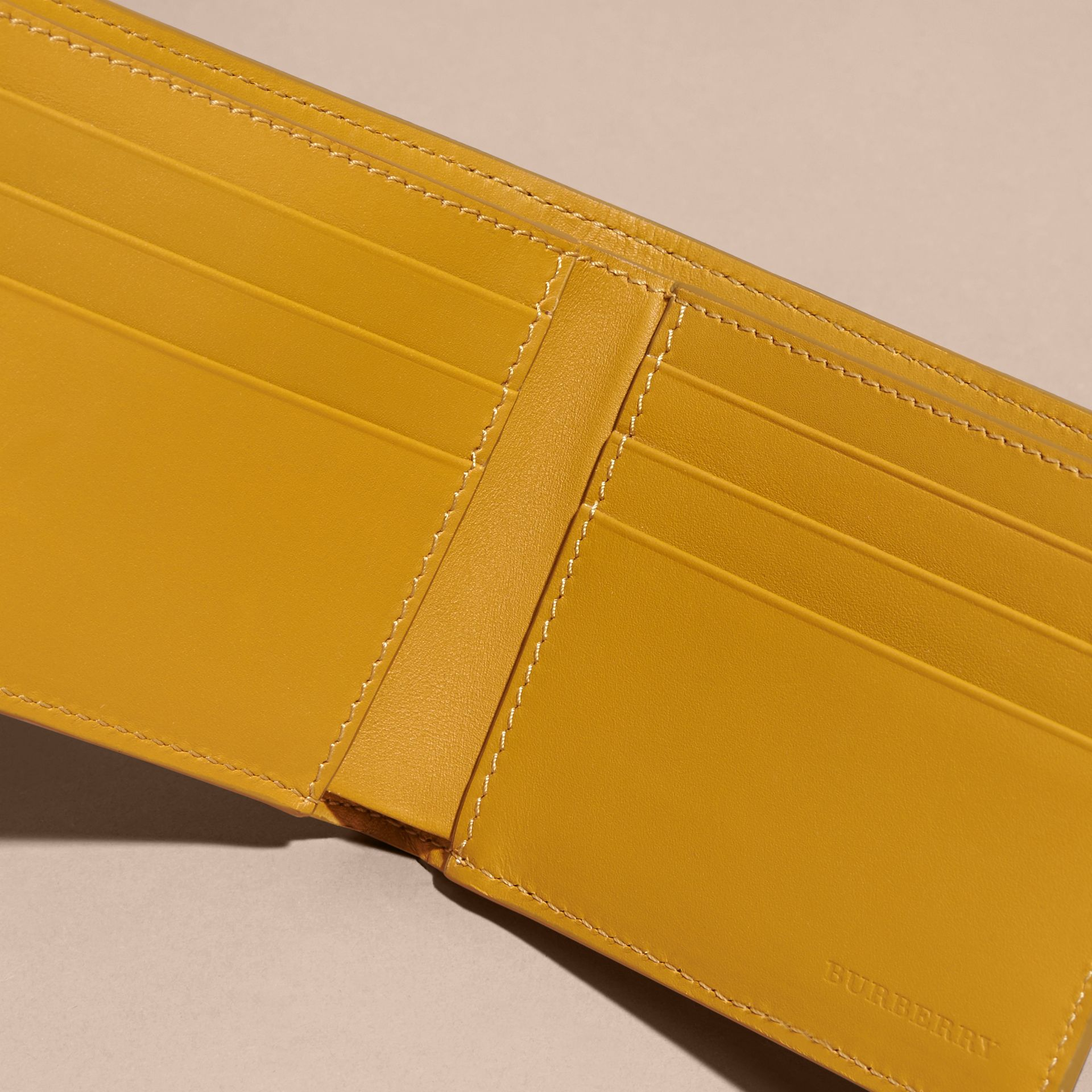 London Leather Bifold Wallet in Larch Yellow - gallery image 5