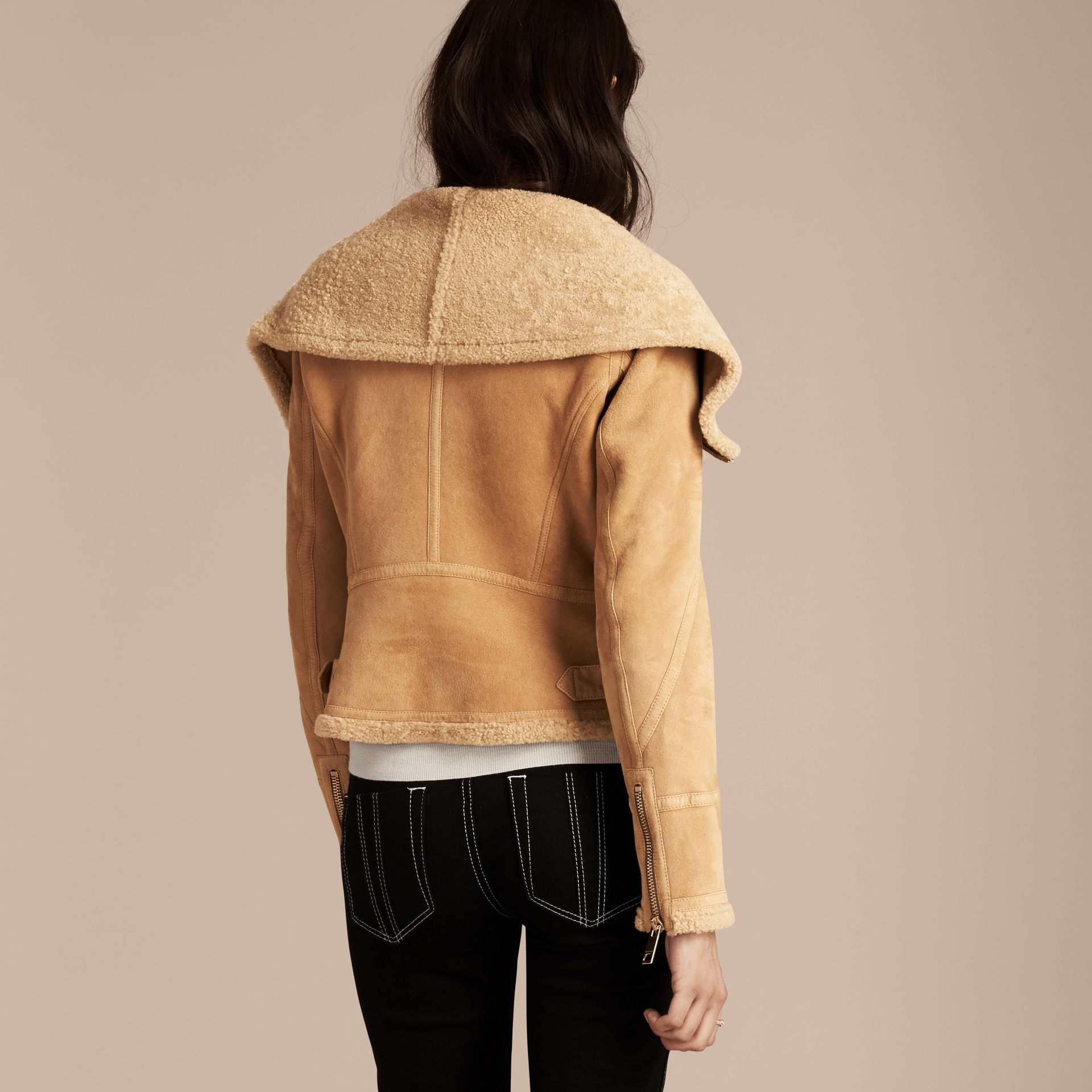 Honey Shearling Aviator Jacket - gallery image 3