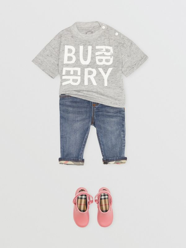 Relaxed Fit Pull-on Stretch Denim Jeans in Mid Indigo - Children | Burberry Singapore - cell image 2