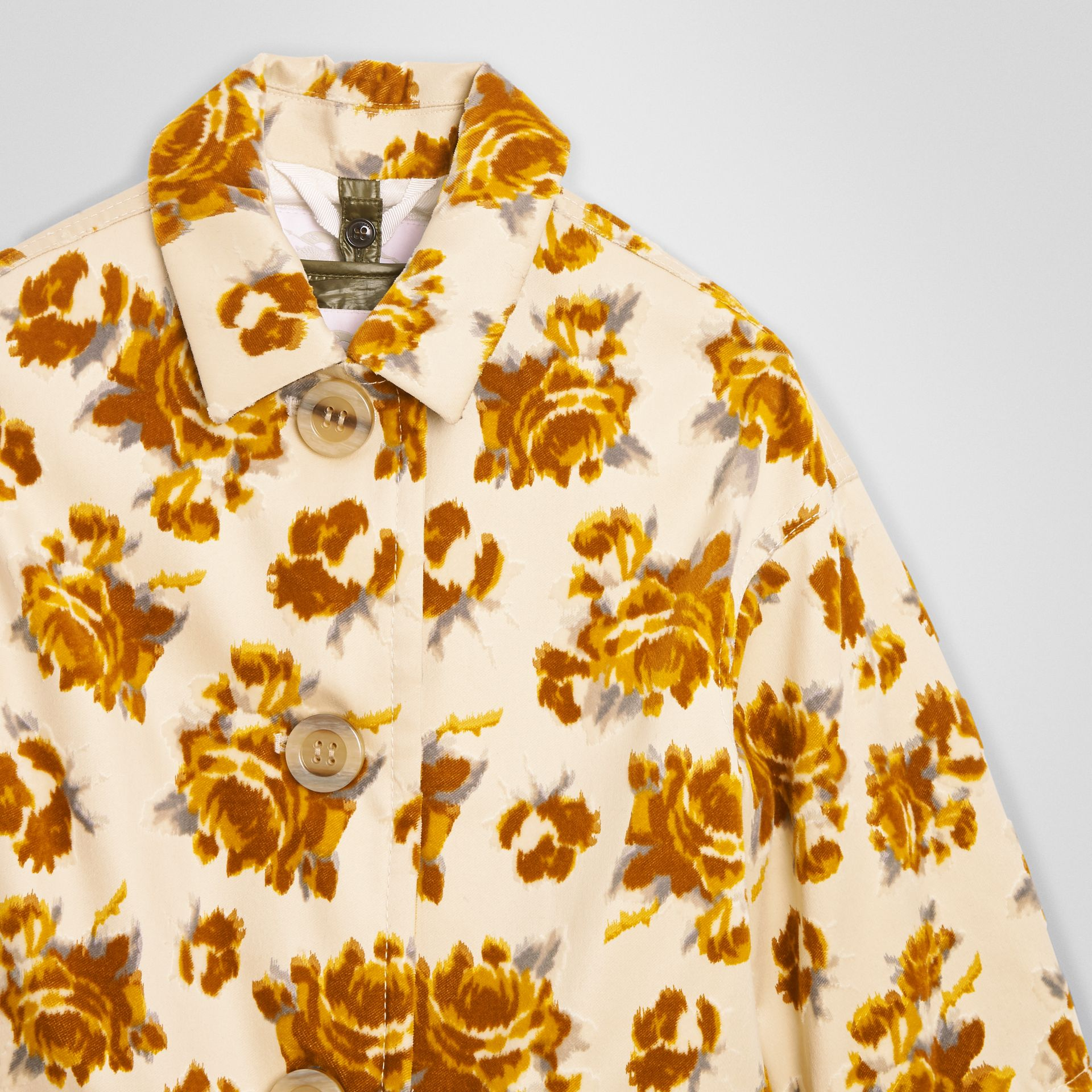 Floral Velvet Jacquard Car Coat with Warmer in Ochre | Burberry - gallery image 4
