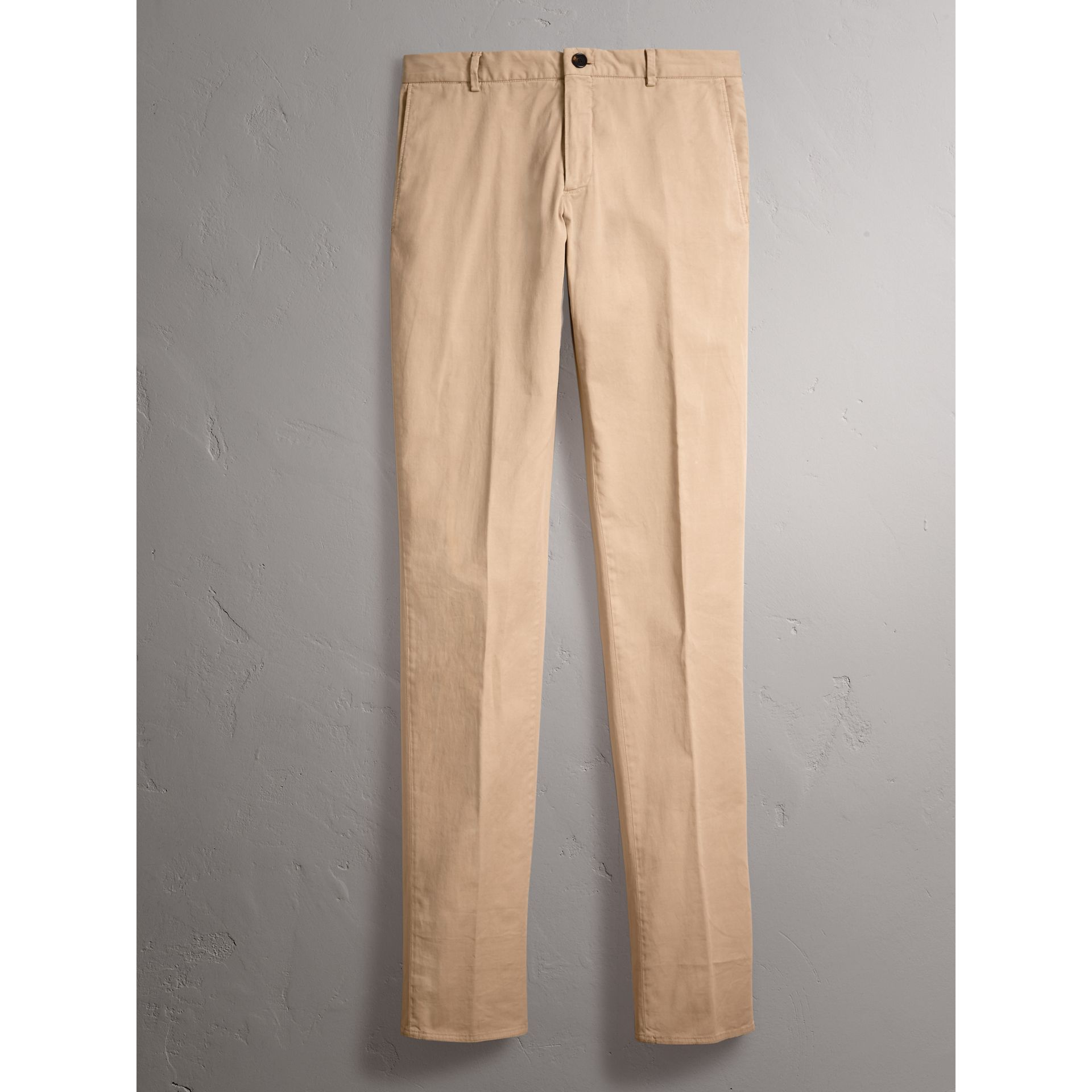 Slim Fit Stretch Cotton Chinos in Stone - Men | Burberry - gallery image 4