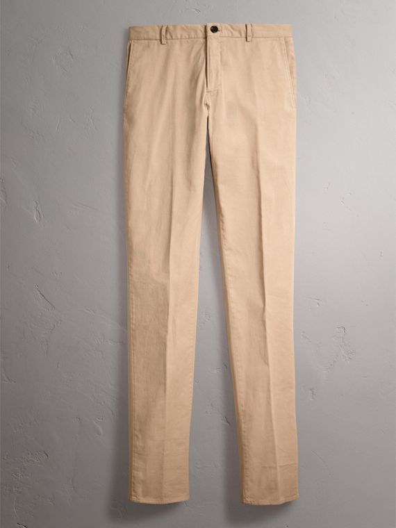 Slim Fit Stretch Cotton Chinos in Stone - Men | Burberry - cell image 3