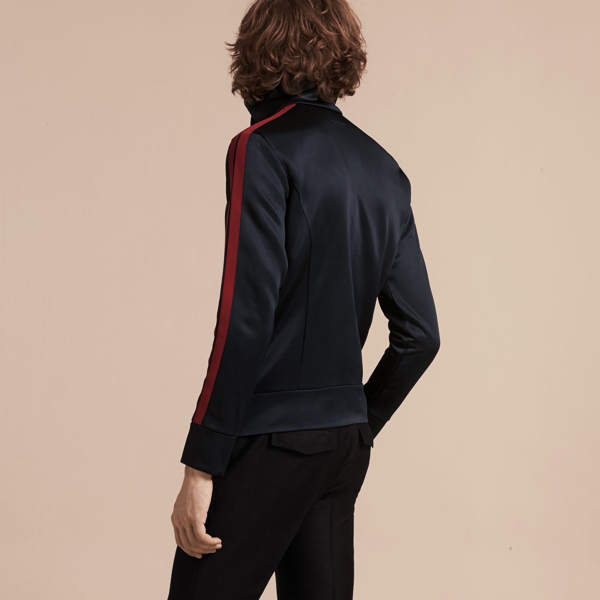 Navy High-shine Technical Track Jacket - gallery image 3