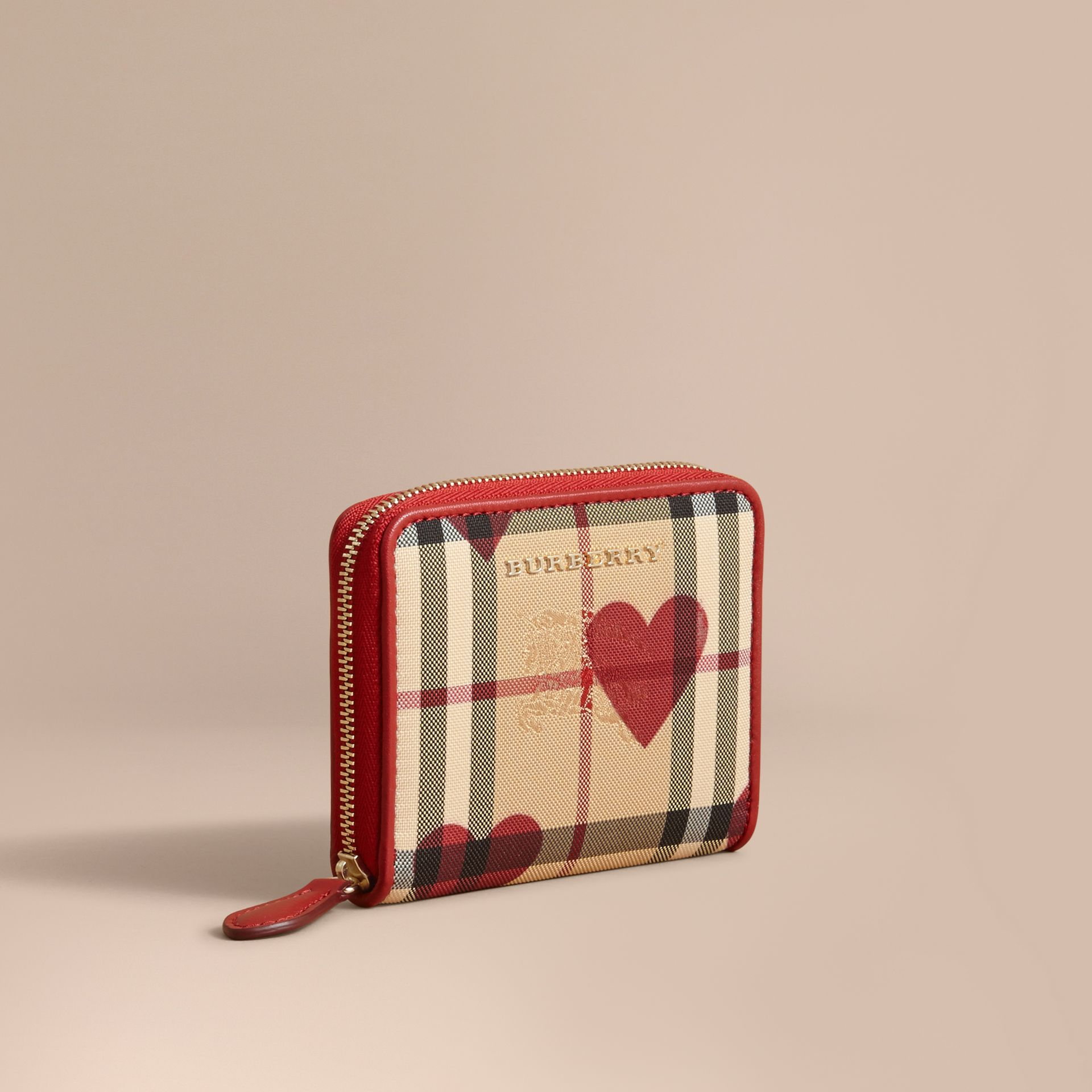 Parade red Heart Print Horseferry Check Small Ziparound Wallet - gallery image 1