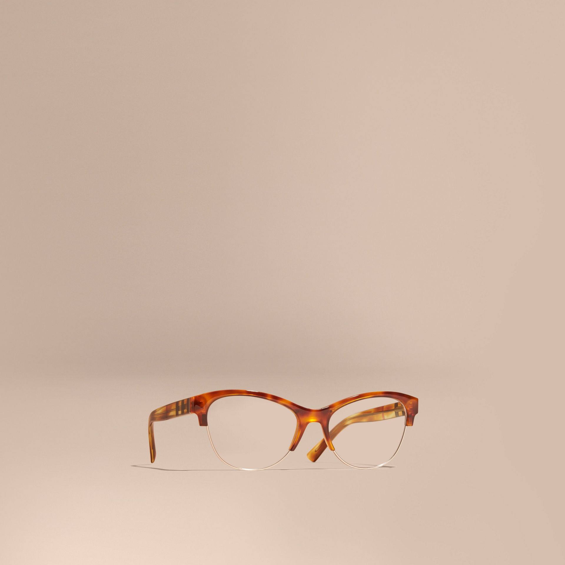 Half-rimmed Cat-eye Optical Frames in Light Russet Brown - gallery image 1