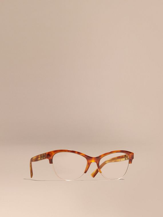 Montatura da vista cat-eye semi-rimless Marrone Ruggine Chiaro