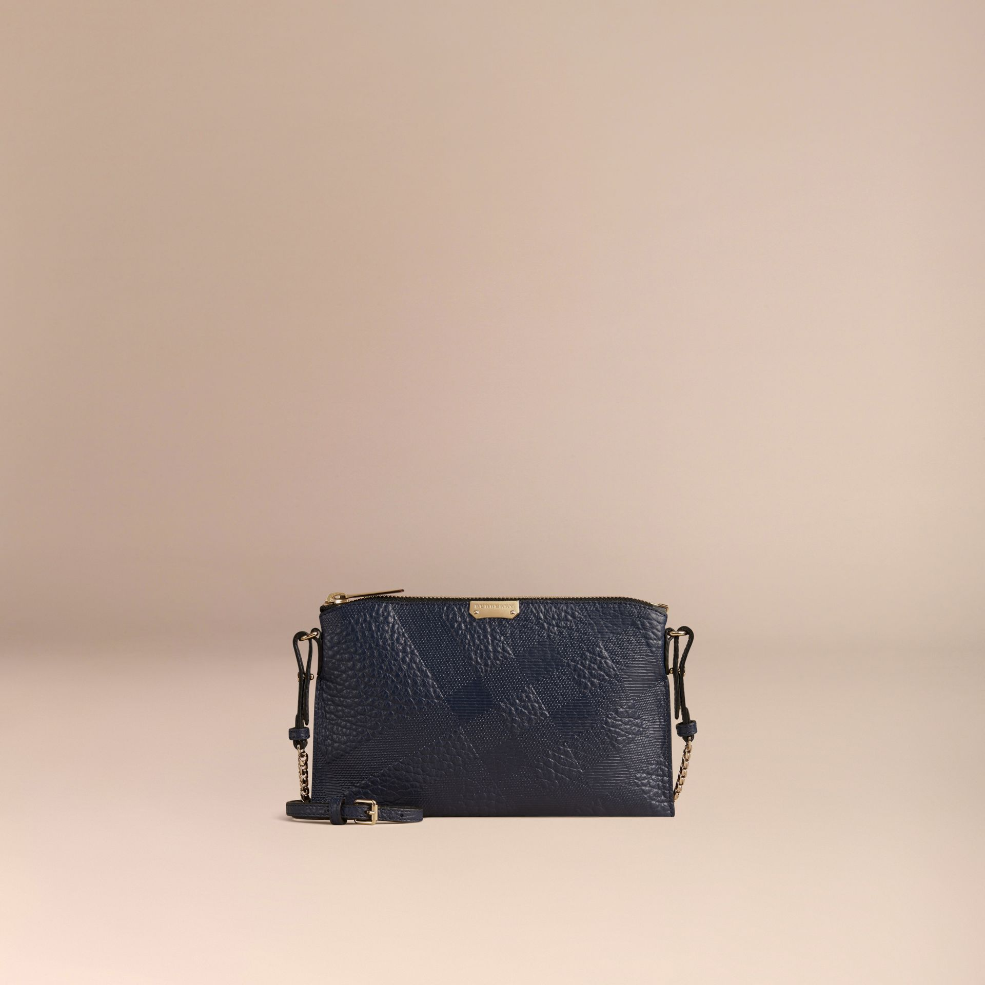 Blue carbon Check-embossed Leather Clutch Bag Blue Carbon - gallery image 7