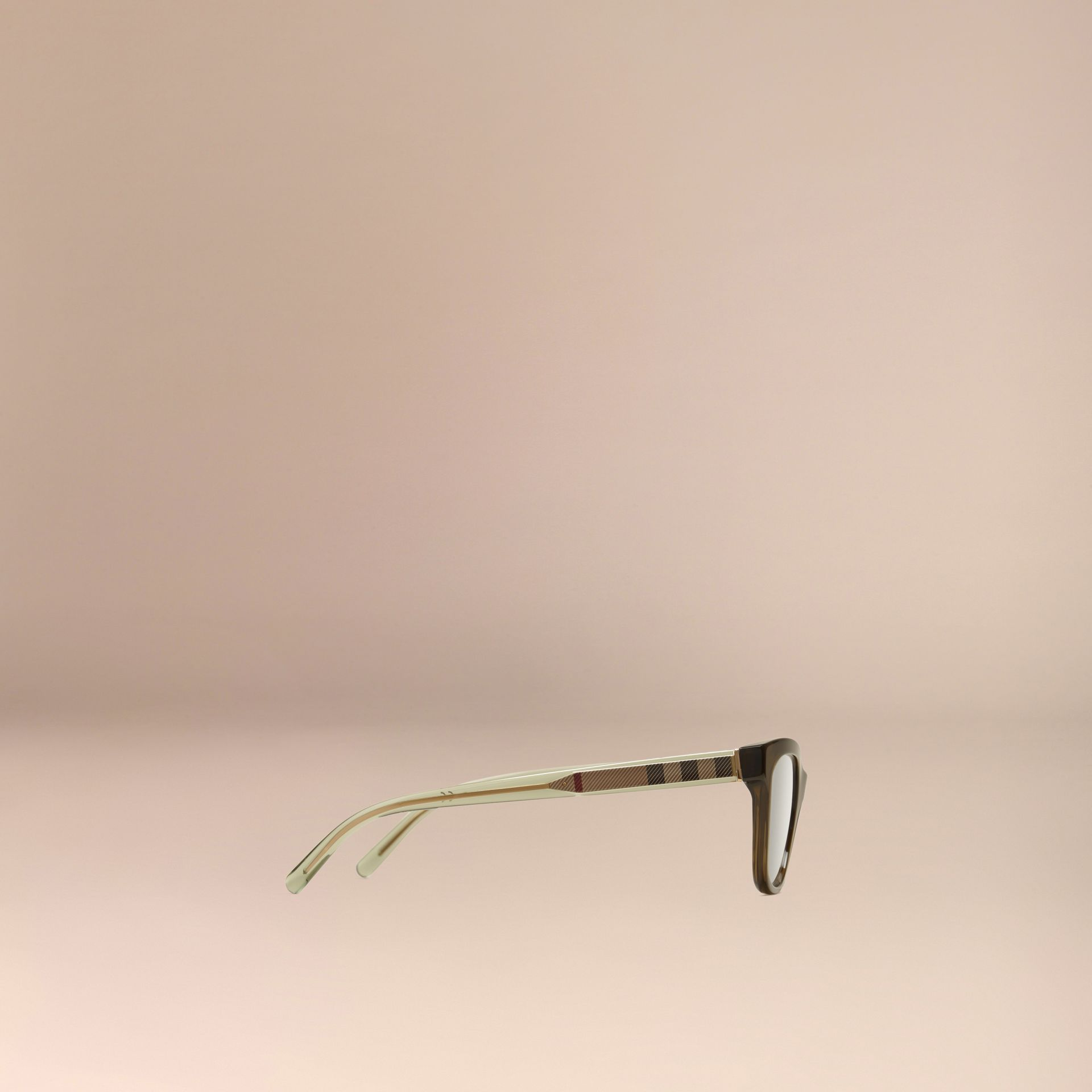 Olive Check Detail Oval Optical Frames Olive - gallery image 4