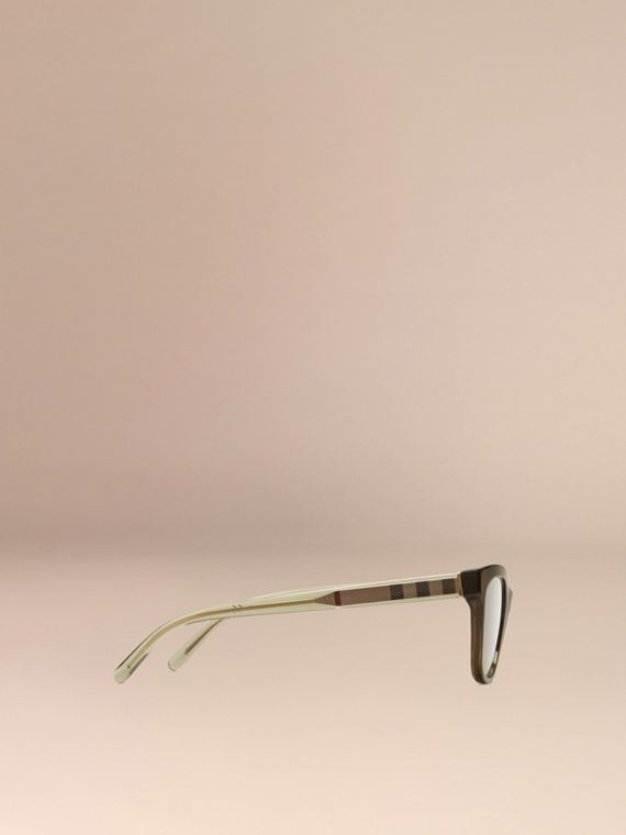 Olive Check Detail Oval Optical Frames Olive - cell image 3
