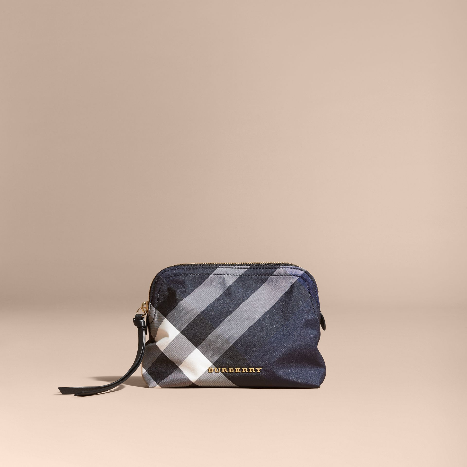 Indigo blue Medium Zip-top Check Technical Pouch Indigo Blue - gallery image 6