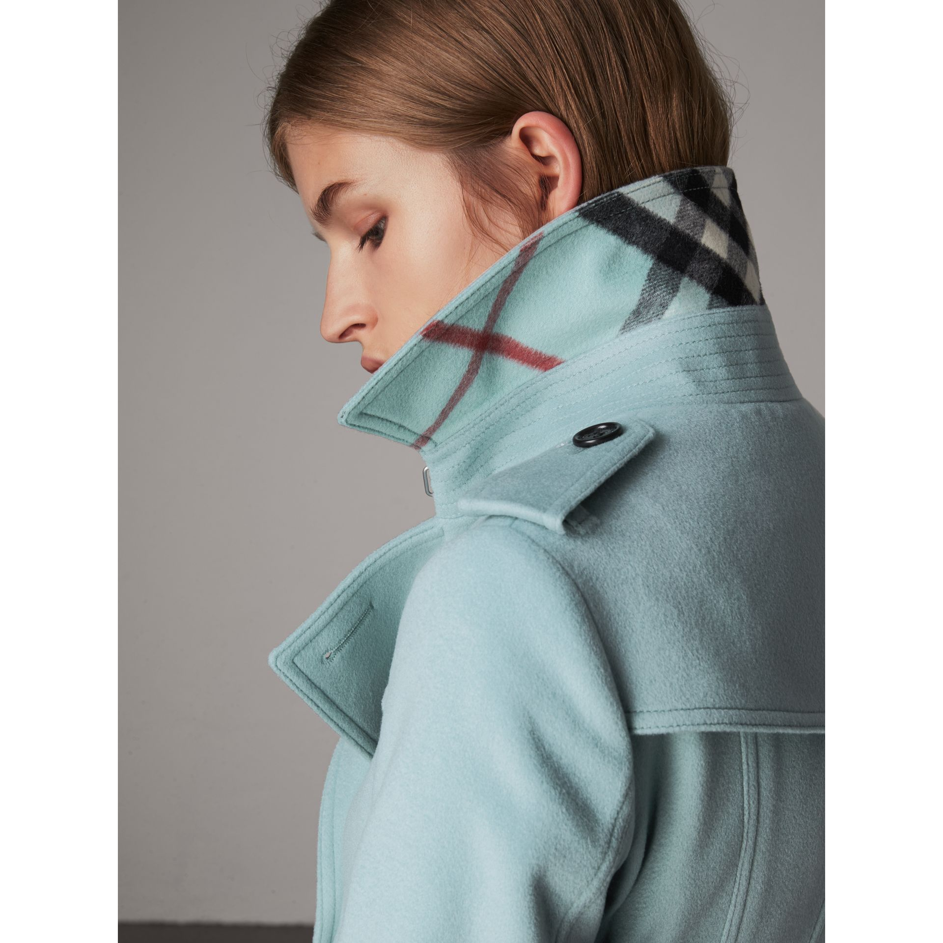 Sandringham Fit Cashmere Trench Coat in Pale Mineral Blue - Women ...