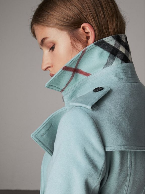 Sandringham Fit Cashmere Trench Coat in Pale Mineral Blue - Women | Burberry - cell image 1