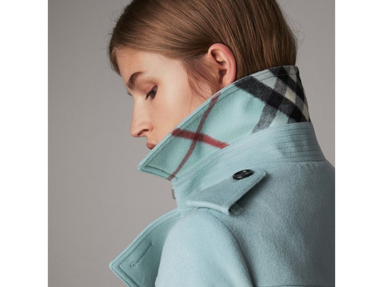Sandringham Fit Cashmere Trench Coat in Pale Mineral Blue - Women | Burberry Hong Kong - cell image 1